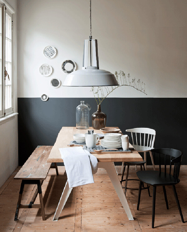 kitchen wall half black and white painting