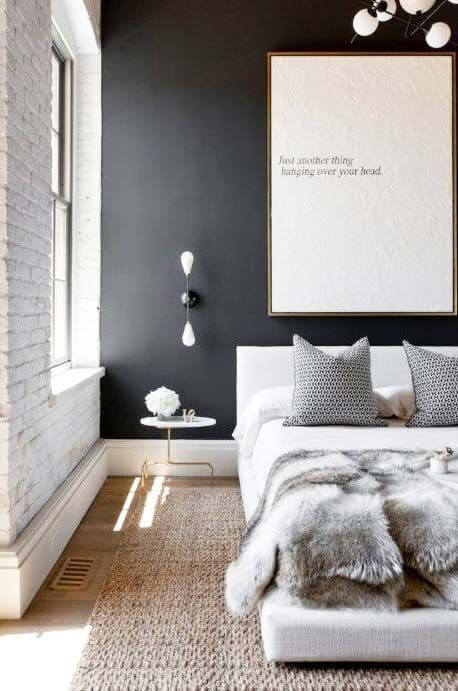 bedroom painting black and white bricks